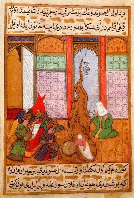 """La nascita di Maometto: miniatura di un manoscritto ottomano del """"Siyar-i Nebi"""" (""""Vita del Profeta"""")"""