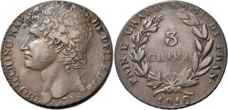 """Un bell'esemplare di moneta da 3 grana in rame, anno 1810, coniata a Napoli a nome di Gioacchino Murat: magnifico il ritratto del """"napoleonide"""" sul dritto"""