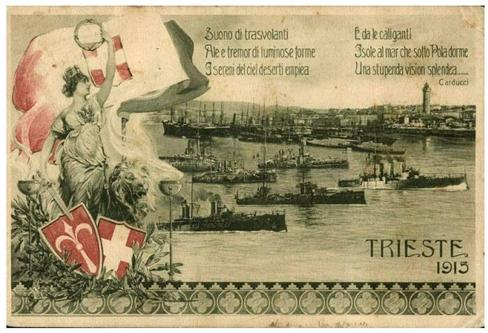 Fig. 3   Cartolina italiana di propaganda bellica che, all'inizio del conflitto, già inneggia ad una conquista di Trieste irredenta con i versi del poeta Giosuè Carducci