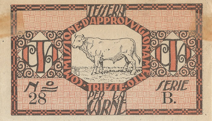 Fig. 6   Tessera per l'acquisto di carne manzo, numero 28 serie B, risalente al primo dopoguerra. Dimensioni originali cm 6,7 x 11,7