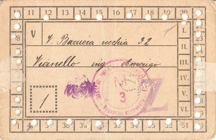 Fig. 7   Tra le tessere della collezione Giulio Bernardi anche questa tessera dei viveri, intestata all'ing. Amerigo Vianello. Dimensioni originali cm 8,4 x 12,9