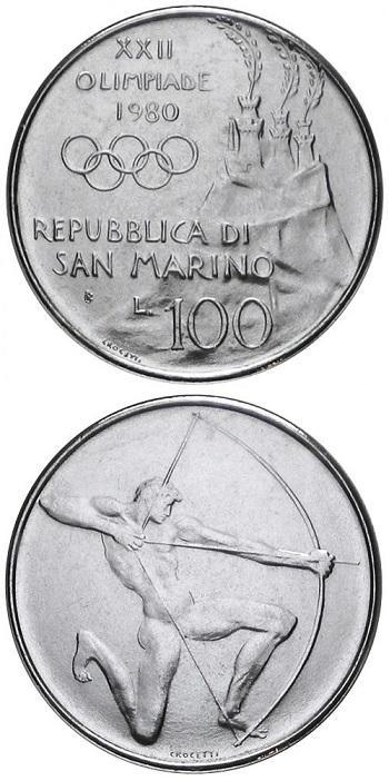 Le magnifiche 100 lire della serie olimpica di San Marino coniata nel 1980 su modelli dello scultore Venanzo Crocetti
