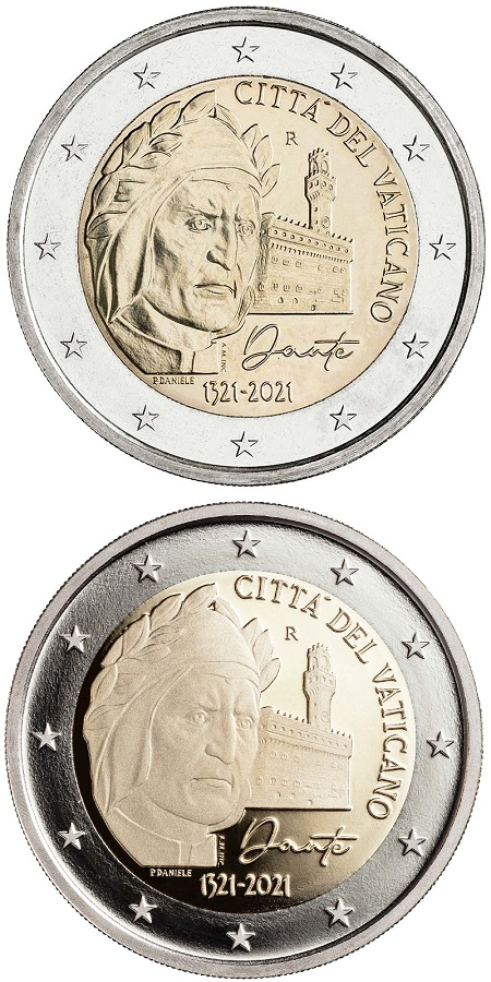 I 2 euro vaticani per il settimo centernario della morte di Dante in versione fior di conio e proof