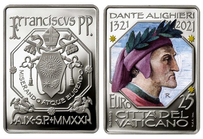 I 25 euro vaticani dedicati a Dante Alighieri avranno una tiratura di 1300 esemplari e un prezzo alla fonte di 139 euro: data di emissione prevista per il 26 ottobre