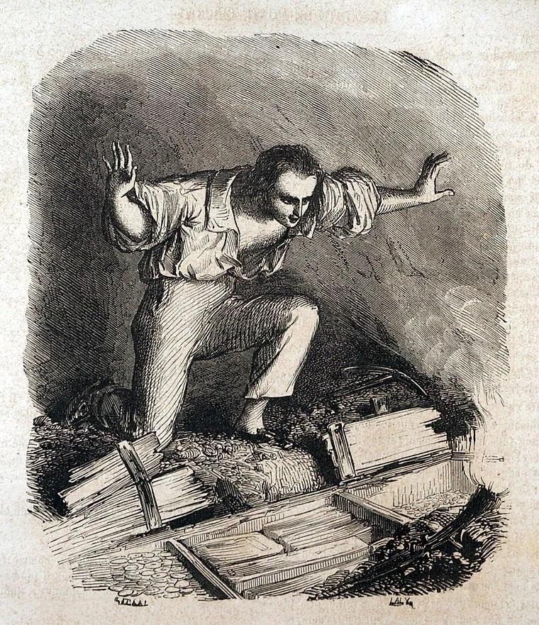 Il conte di Montecristo, in una tavola tratta da un'edizione ottocentesca del romanzo di Dumas. mentre scopre il tesoro della cui esistenza lo ha messo a parte l'abate Faria