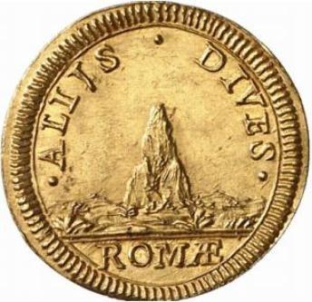 """Il rovescio della """"moneta rebus"""" di papa Albani con gli elementi posti """"in punta"""" allo stemma del pontefice"""